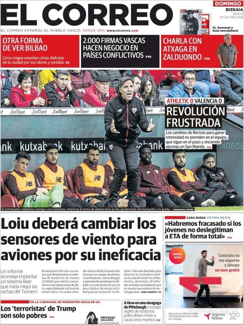Portada El Correo 2018-10-29