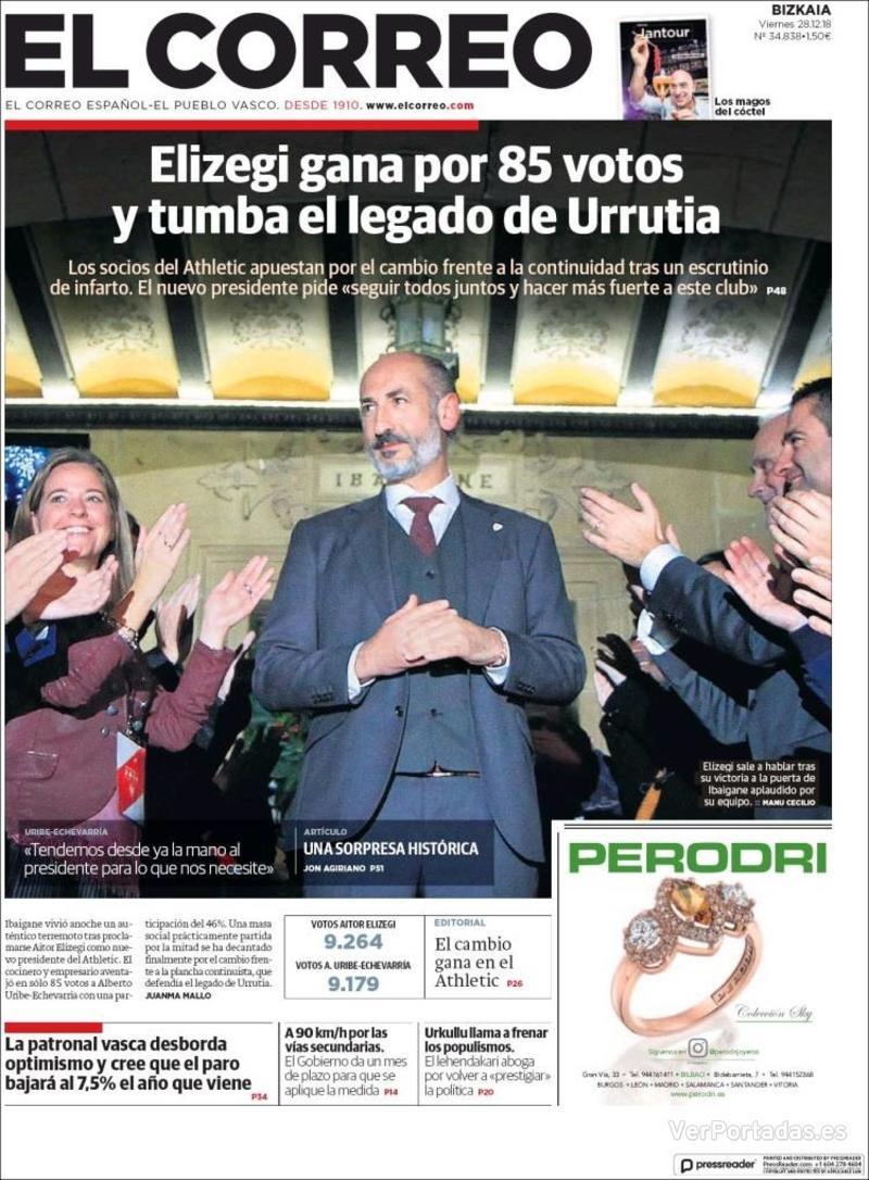 Portada El Correo 2018-12-29