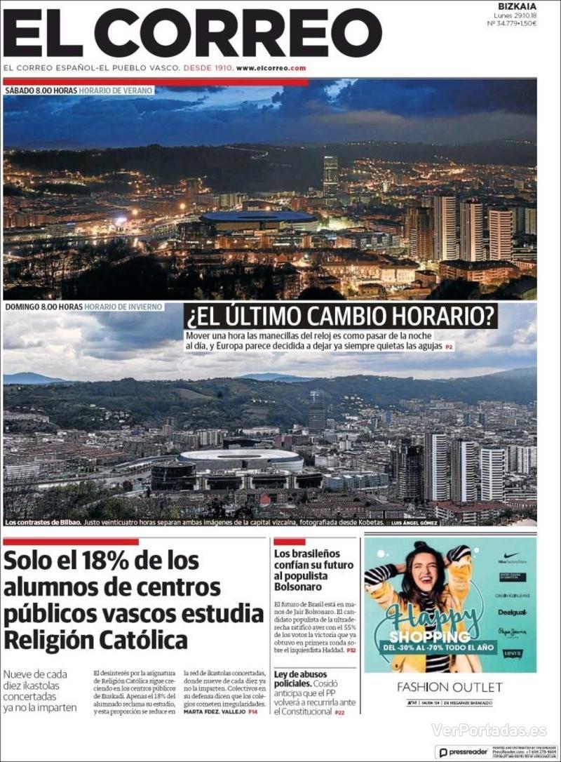 Portada El Correo 2018-10-30