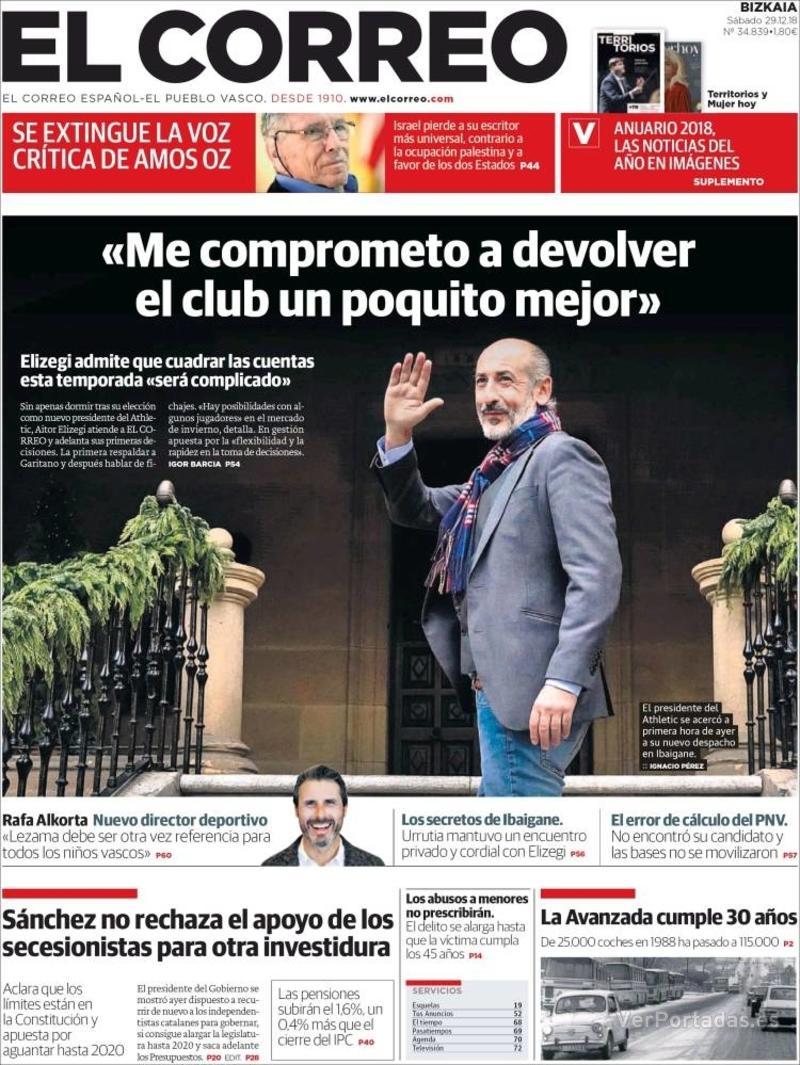 Portada El Correo 2018-12-30