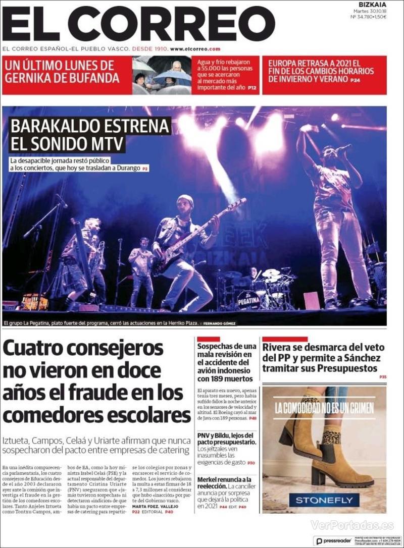 Portada El Correo 2018-10-31