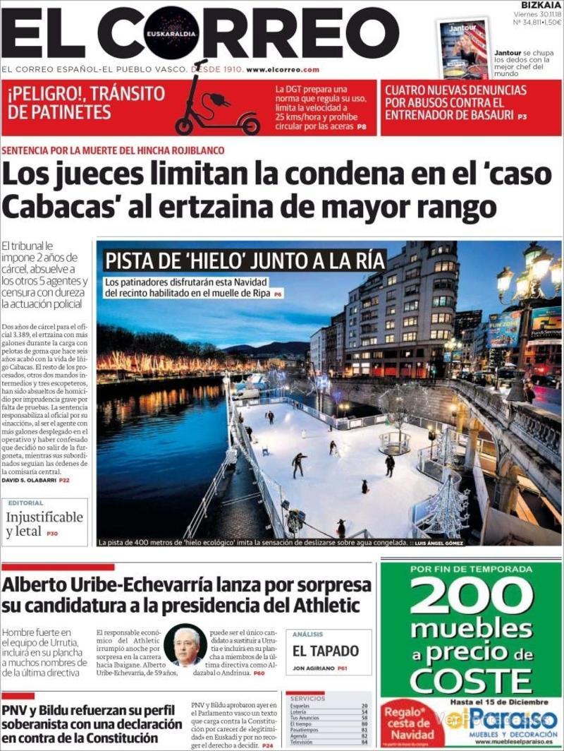 Portada El Correo 2018-12-01