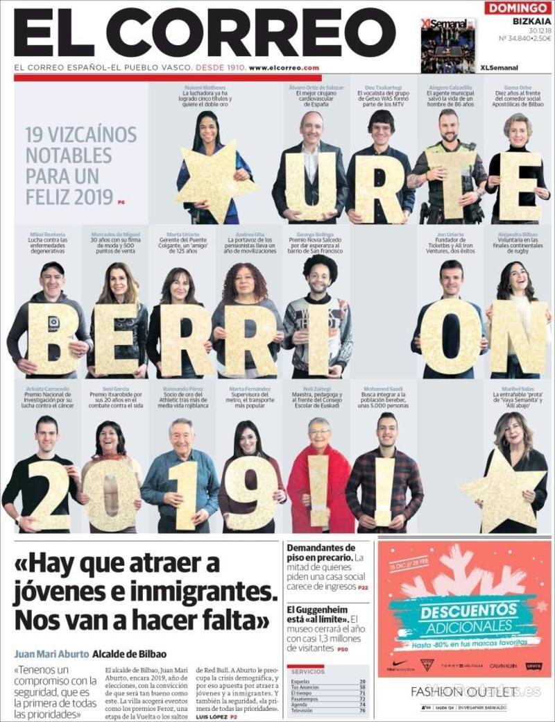 Portada El Correo 2018-12-31