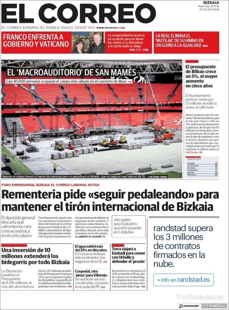 Portada El Correo 2018-11-01