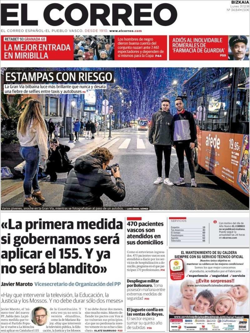 Portada El Correo 2019-01-02