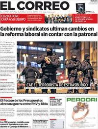 Portada El Correo 2018-12-14