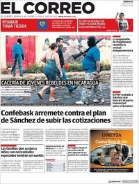 Portada El Correo 2018-07-19