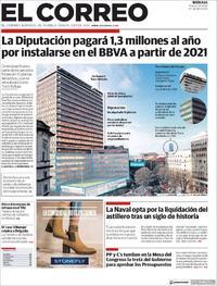 Portada El Correo 2018-09-25