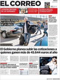 Portada El Correo 2018-10-26