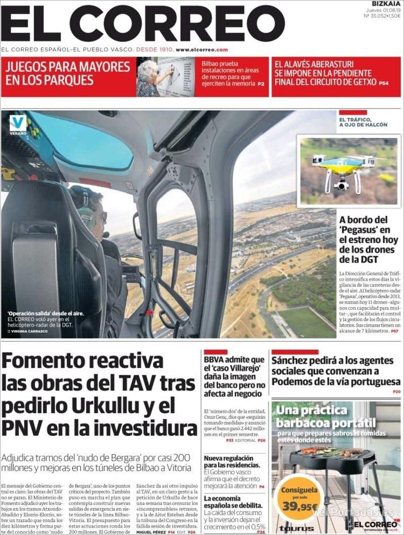 Portada El Correo 2019-08-02