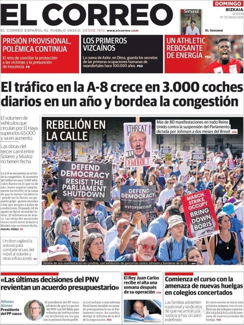 Portada El Correo 2019-09-02