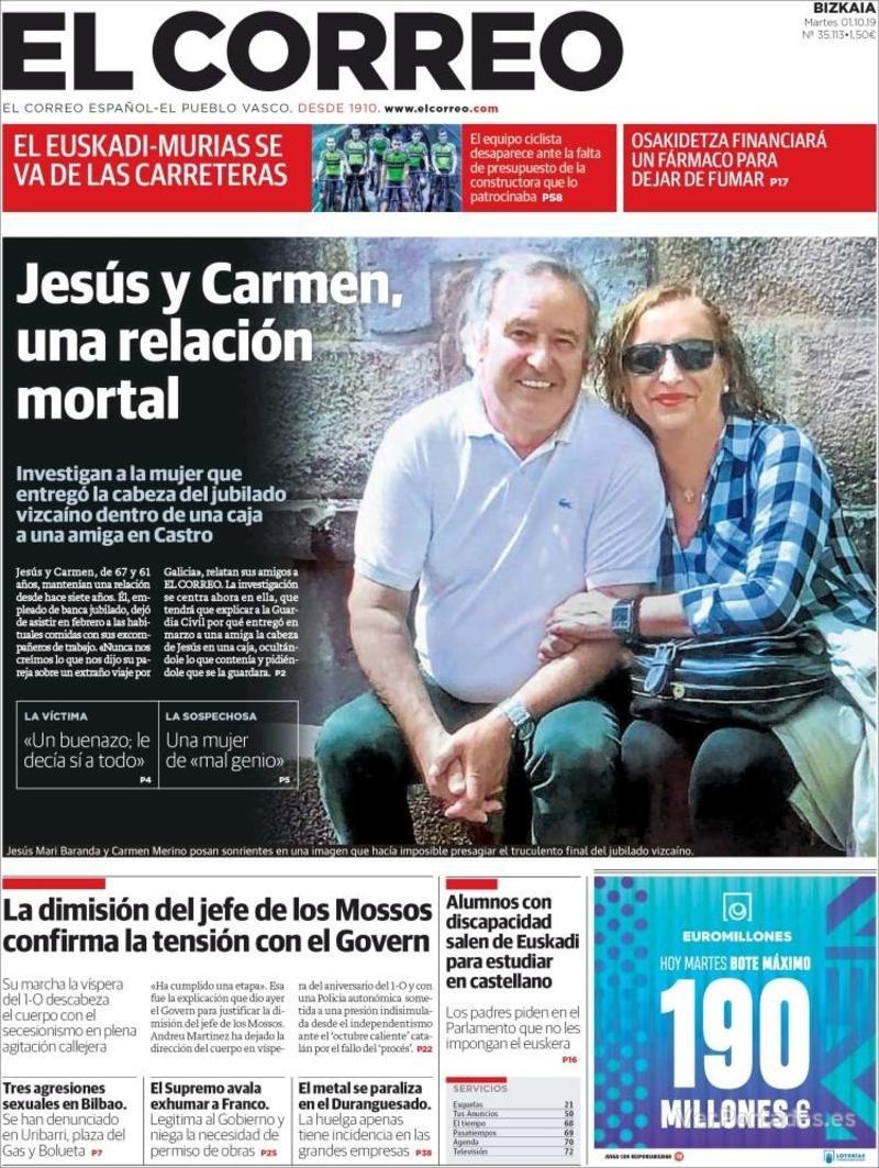Portada El Correo 2019-10-02