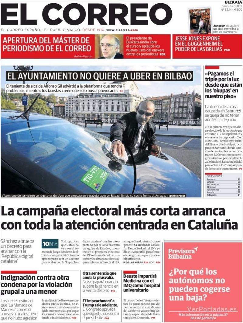 Portada El Correo 2019-11-02