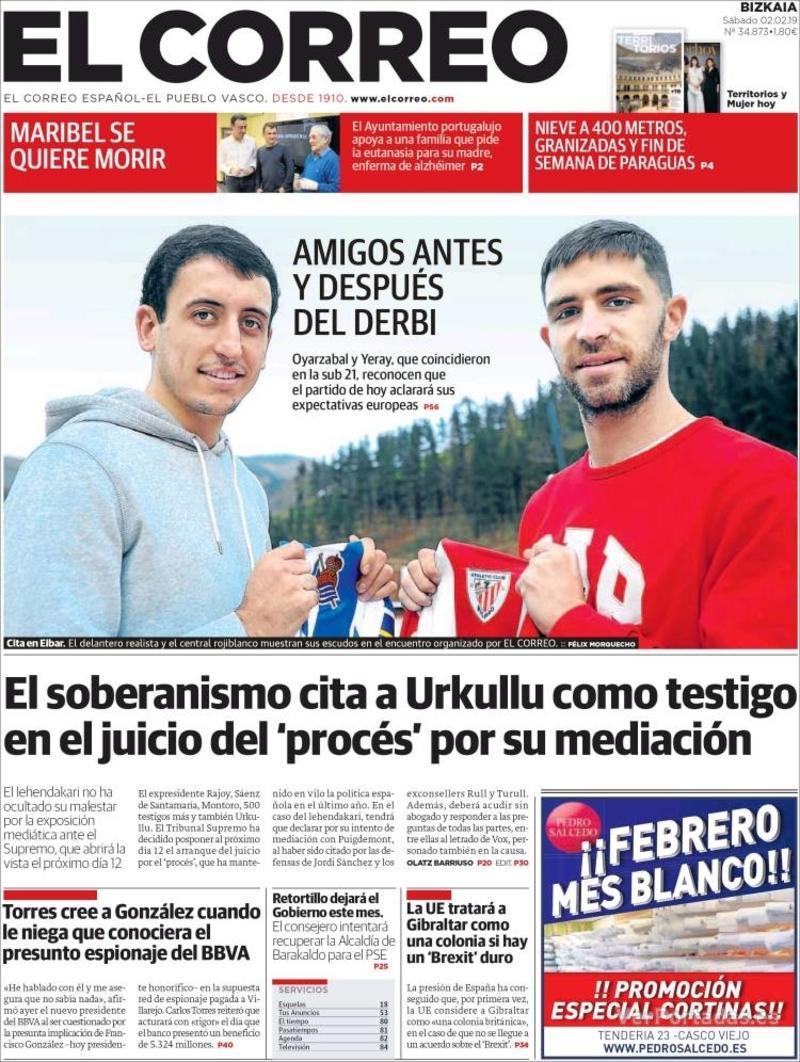 Portada El Correo 2019-02-03