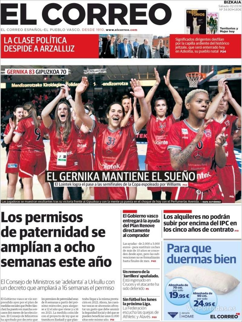 Portada El Correo 2019-03-02