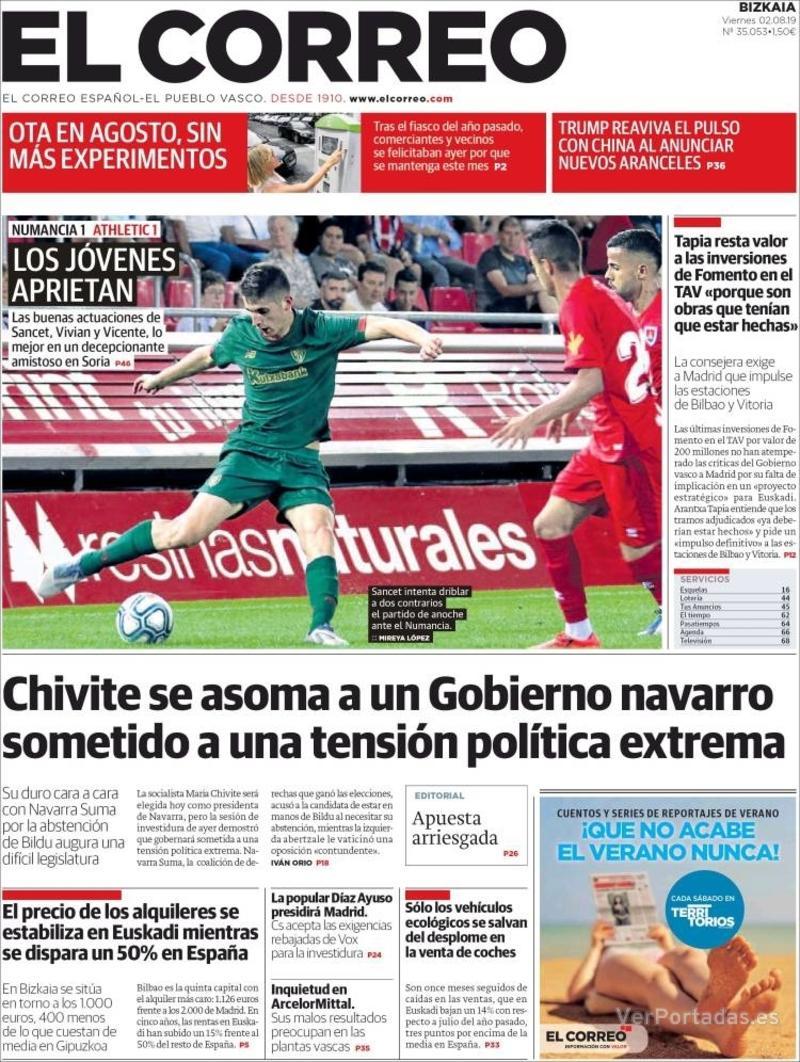 Portada El Correo 2019-08-03
