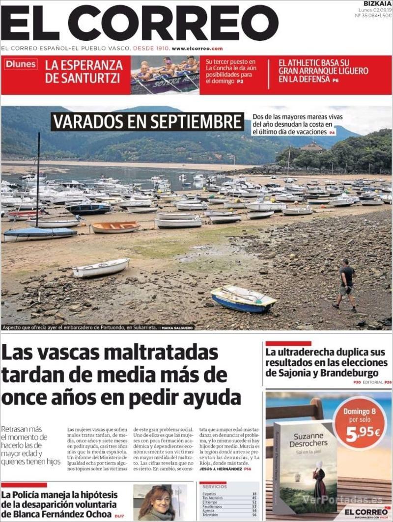 Portada El Correo 2019-09-03