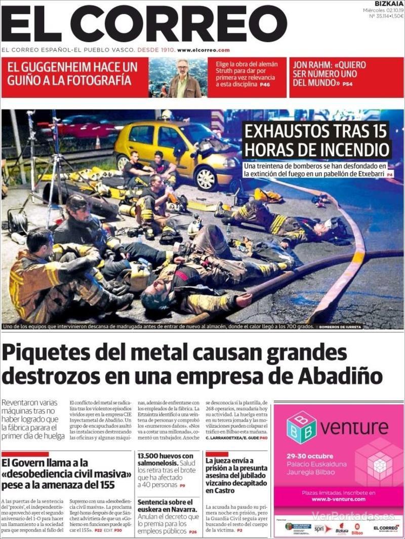 Portada El Correo 2019-10-03