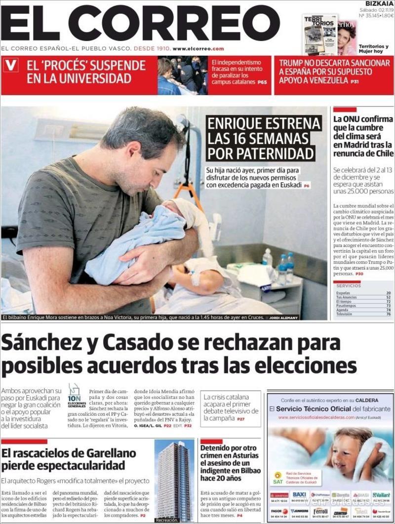 Portada El Correo 2019-11-03