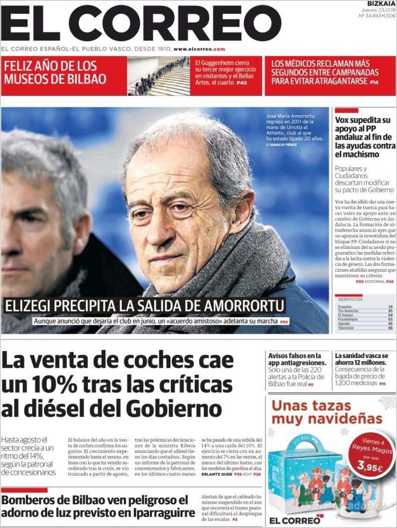 Portada El Correo 2019-01-04
