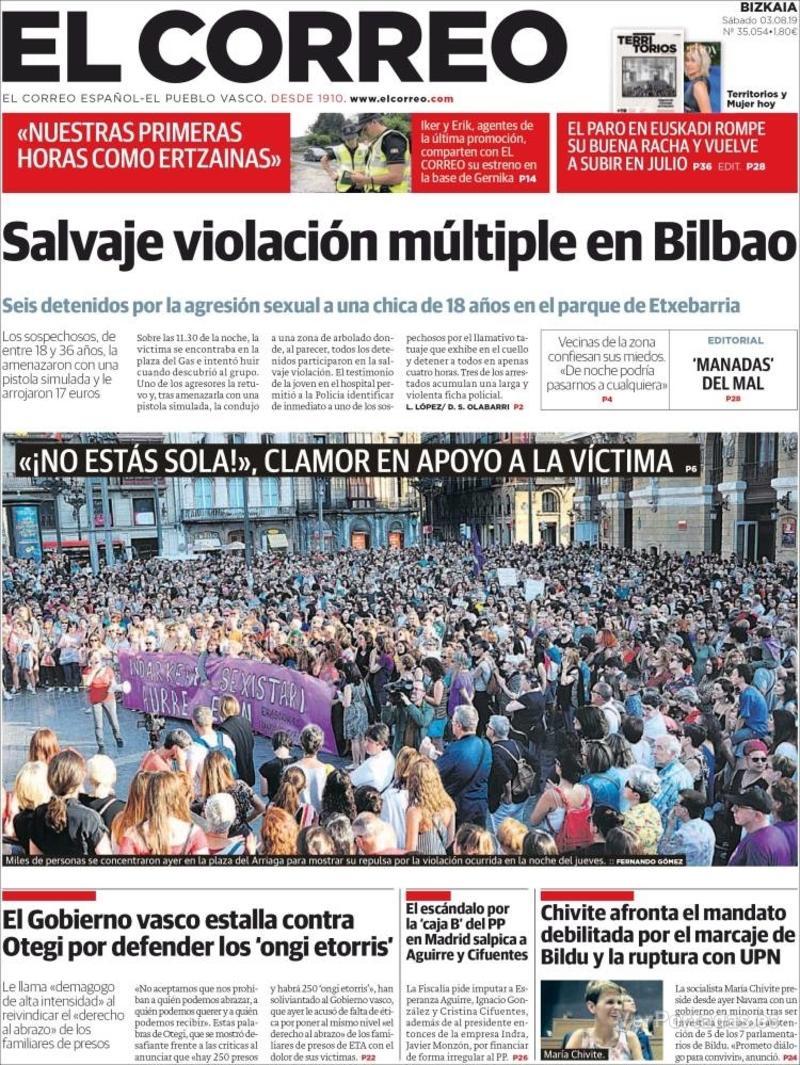 Portada El Correo 2019-08-04