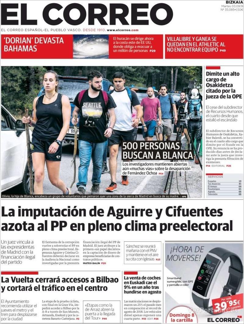 Portada El Correo 2019-09-04