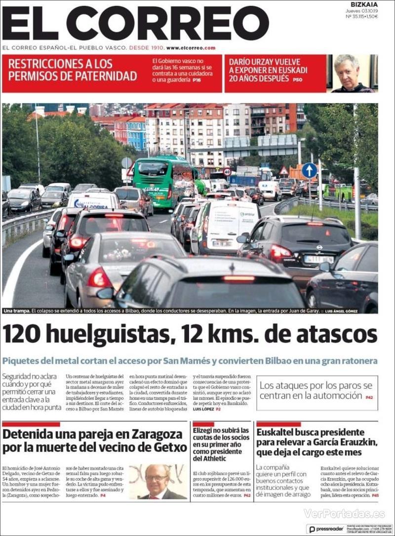 Portada El Correo 2019-10-04