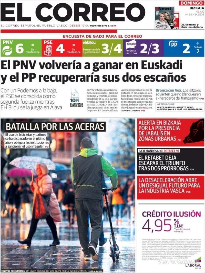 Portada El Correo 2019-11-04