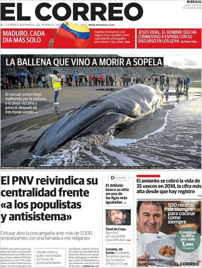 Portada El Correo 2019-02-04