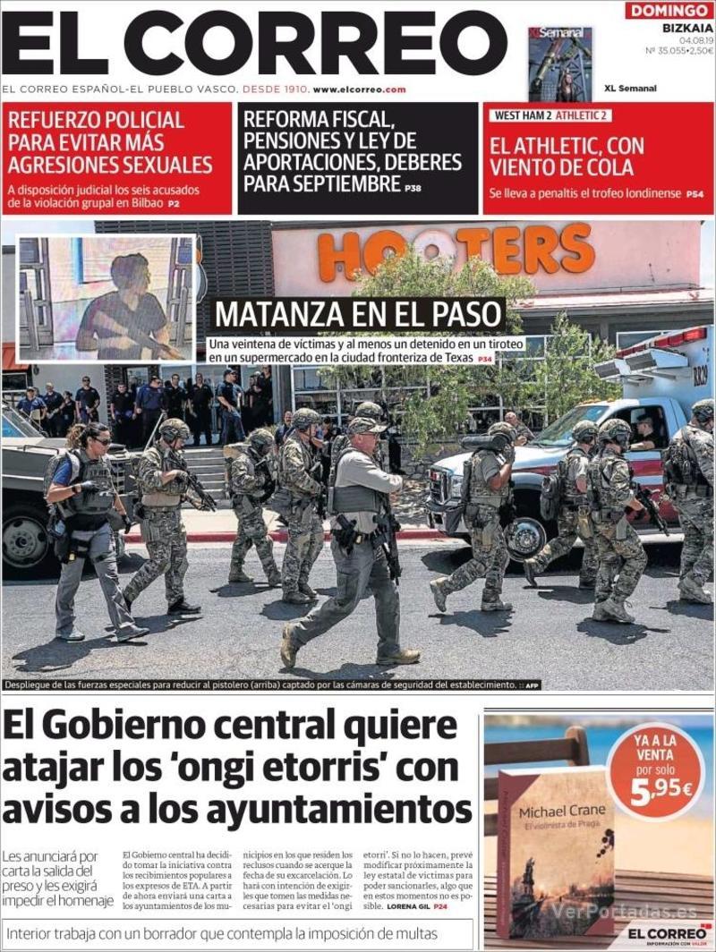 Portada El Correo 2019-08-05