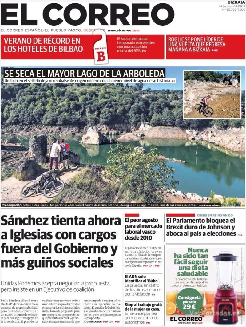 Portada El Correo 2019-09-05