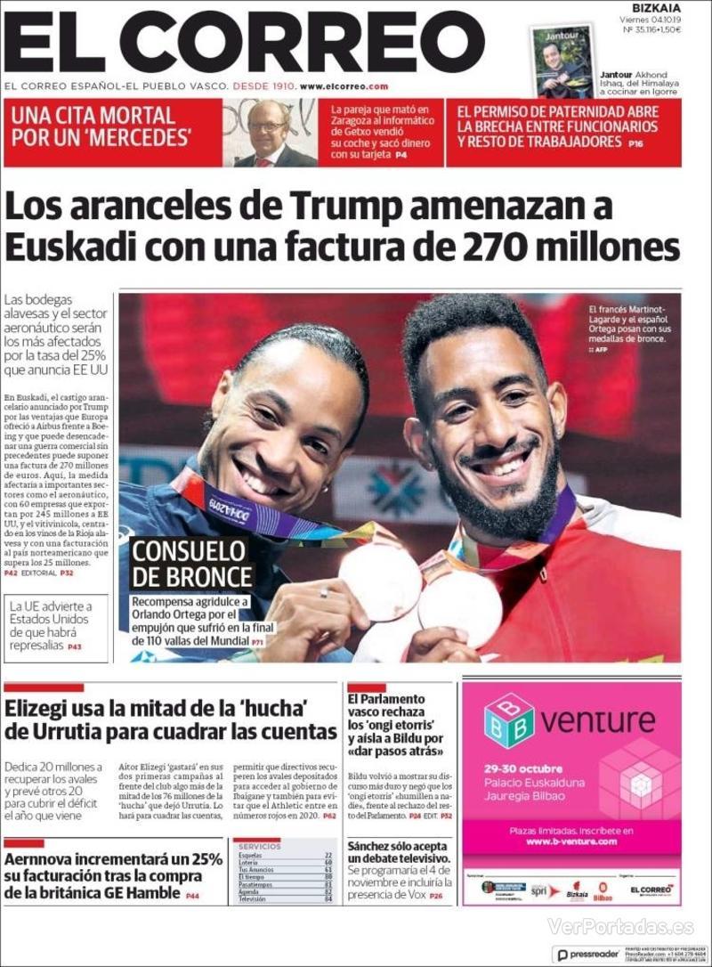 Portada El Correo 2019-10-05
