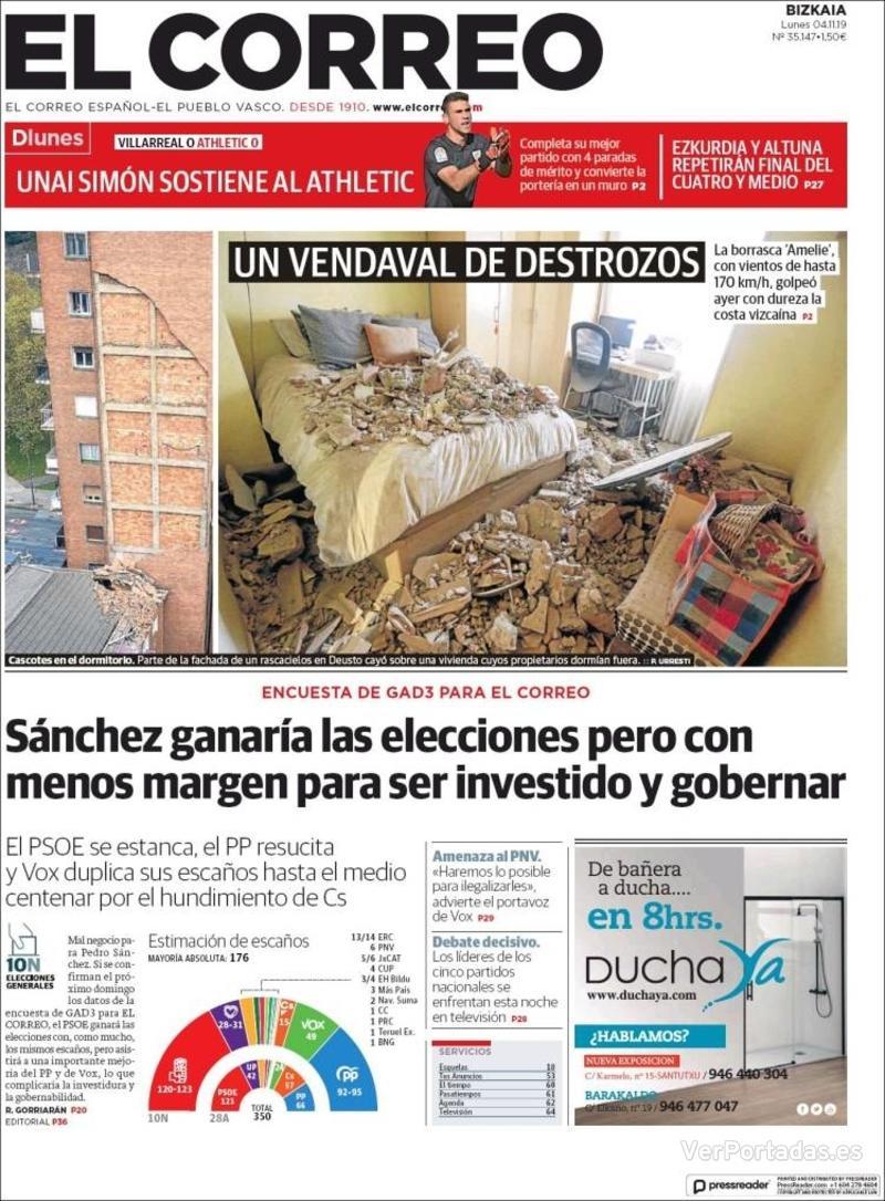 Portada El Correo 2019-11-05