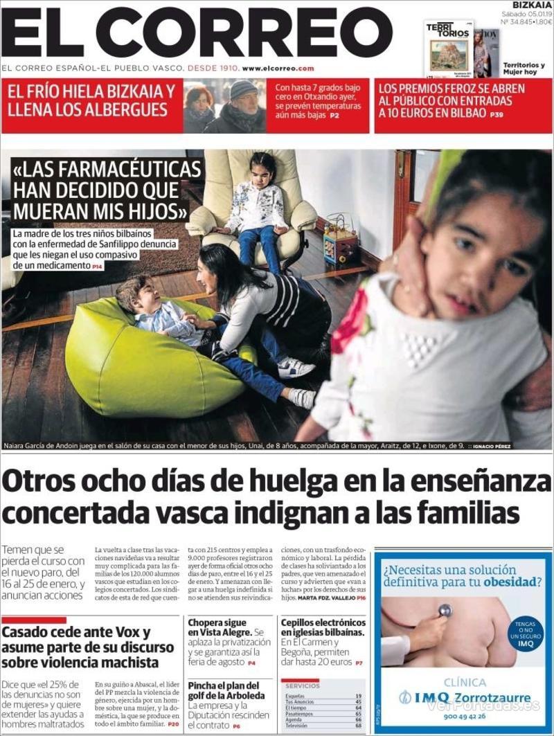 Portada El Correo 2019-01-06