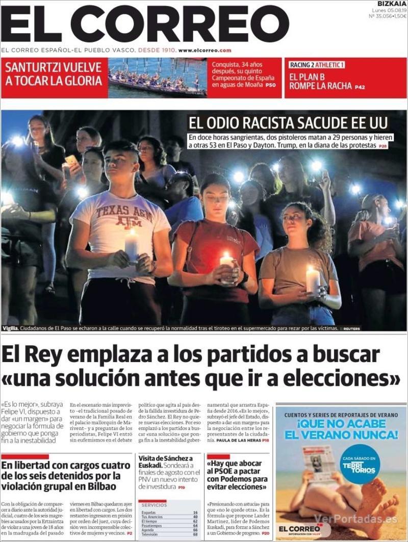 Portada El Correo 2019-08-06