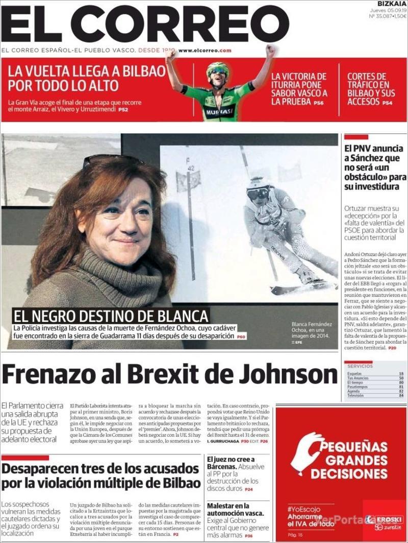 Portada El Correo 2019-09-06