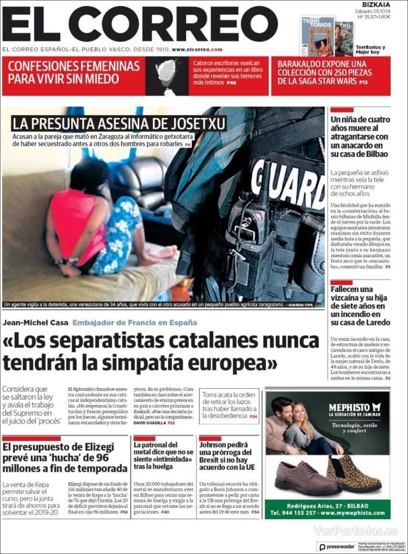 Portada El Correo 2019-10-06