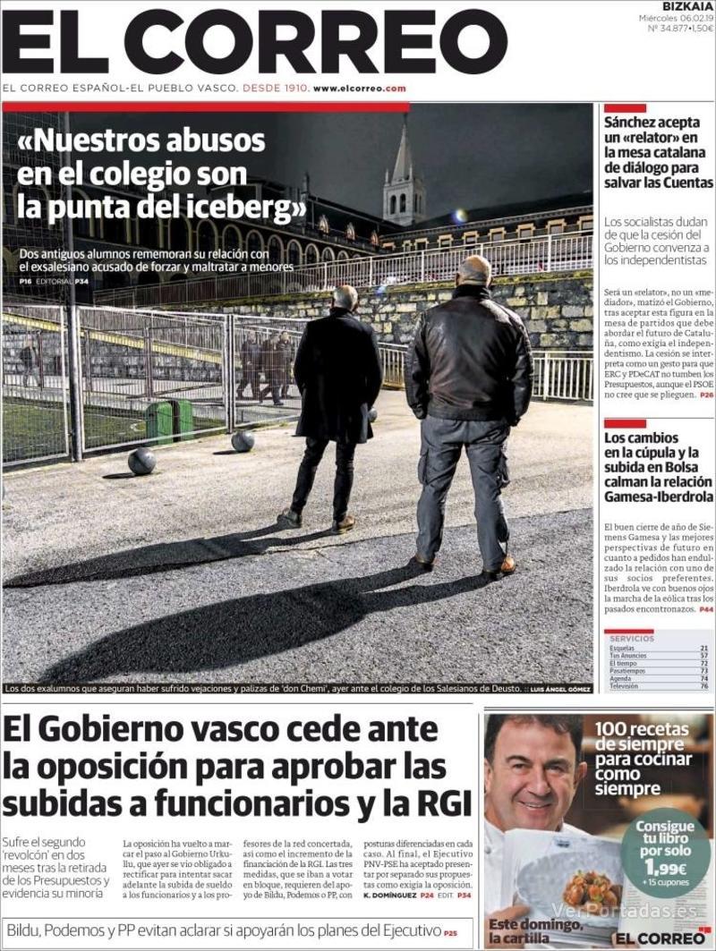 Portada El Correo 2019-02-06