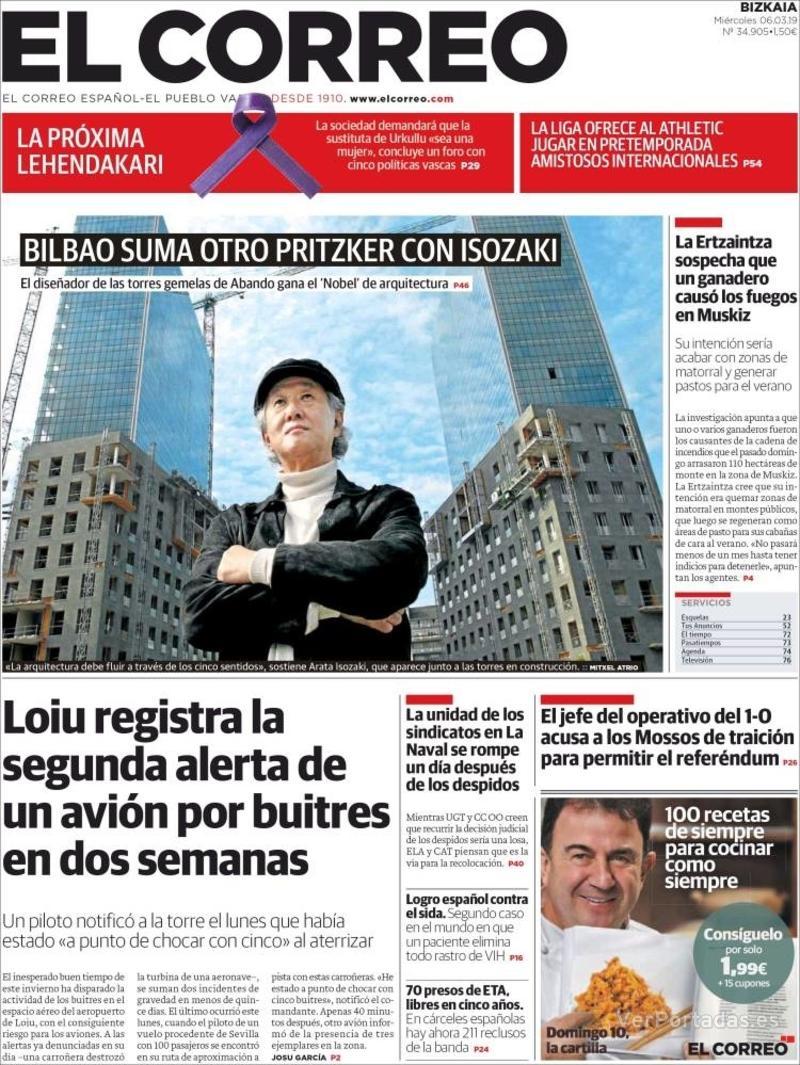 Portada El Correo 2019-03-07