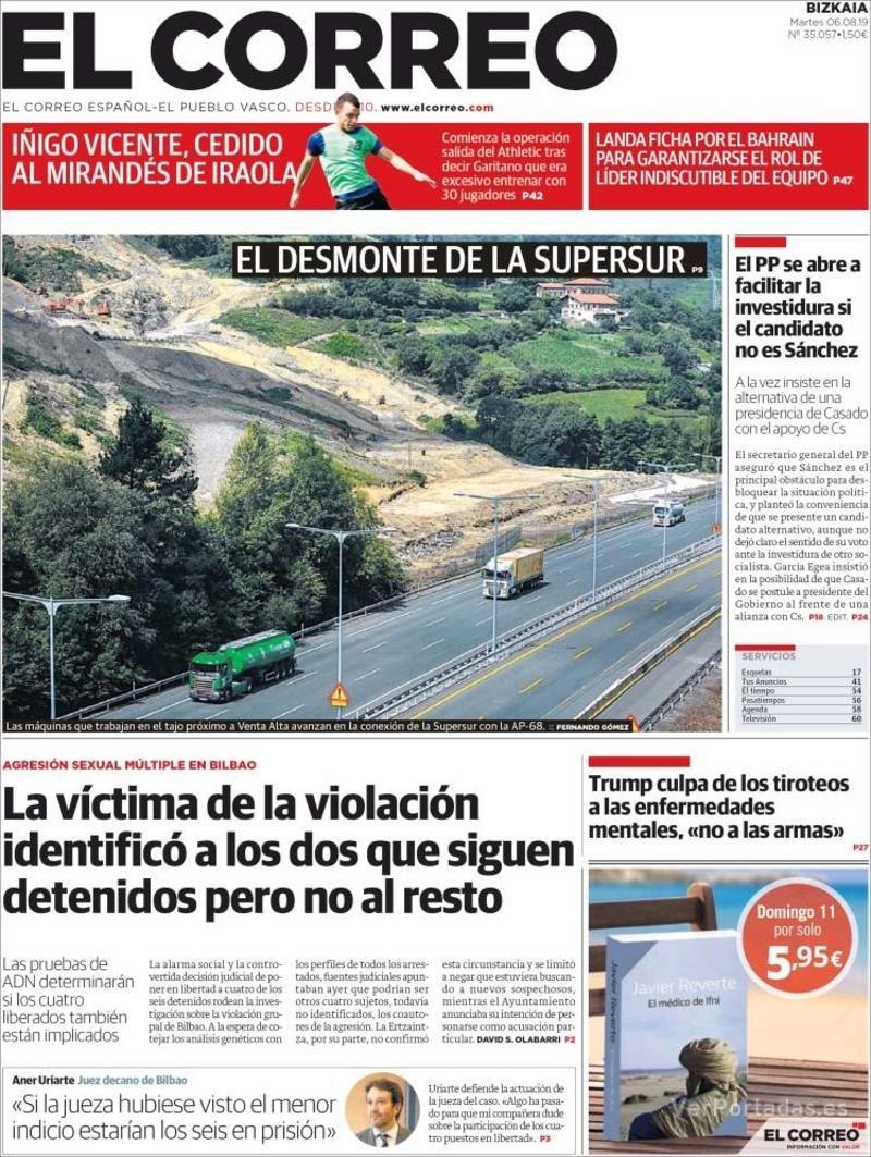 Portada El Correo 2019-08-07
