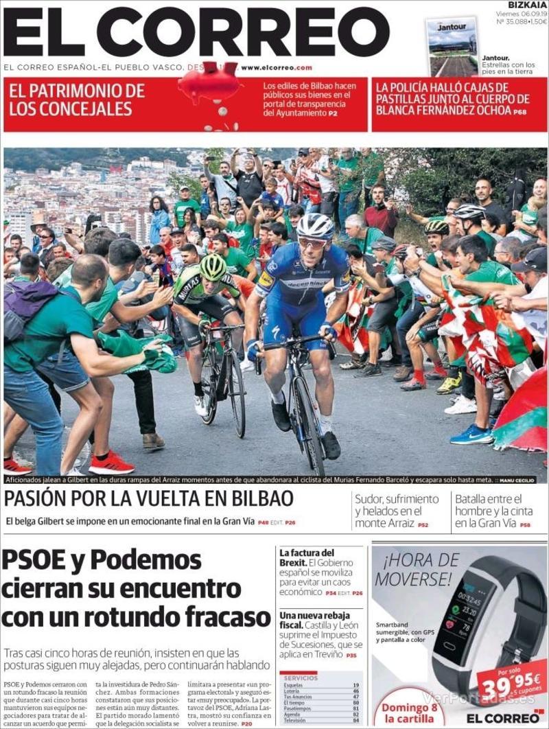 Portada El Correo 2019-09-07