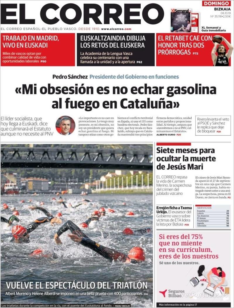 Portada El Correo 2019-10-07