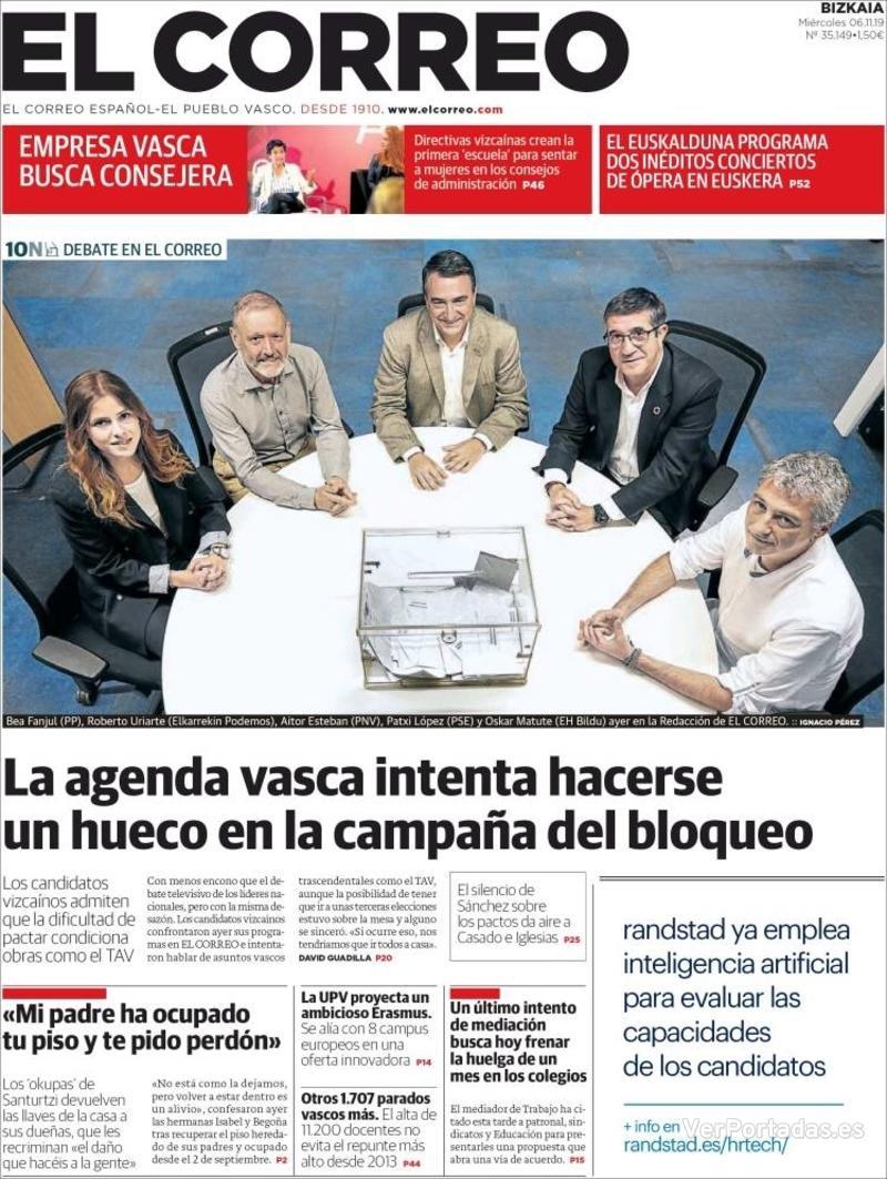 Portada El Correo 2019-11-07