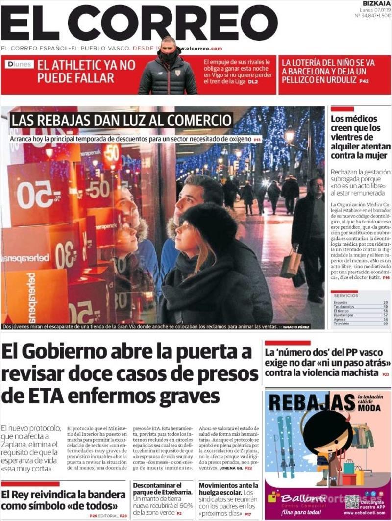 Portada El Correo 2019-01-08