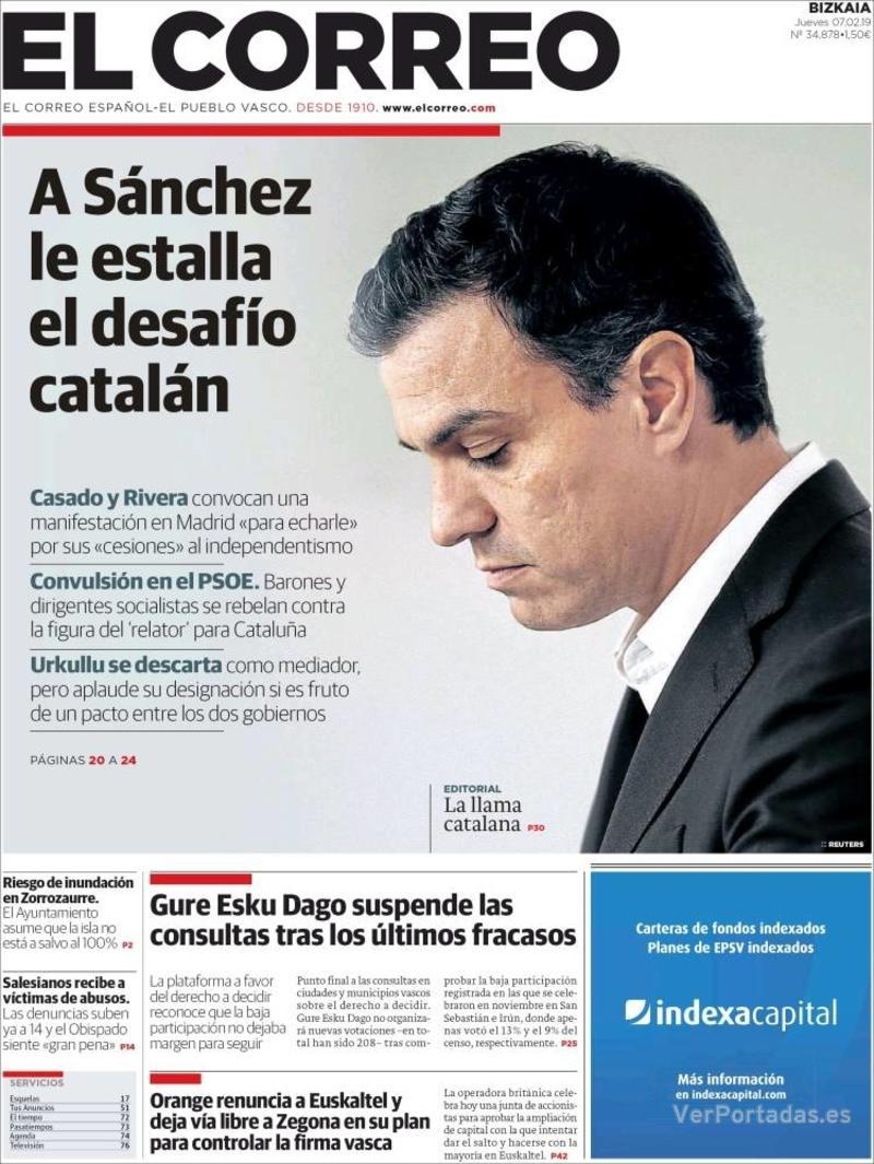 Portada El Correo 2019-02-08