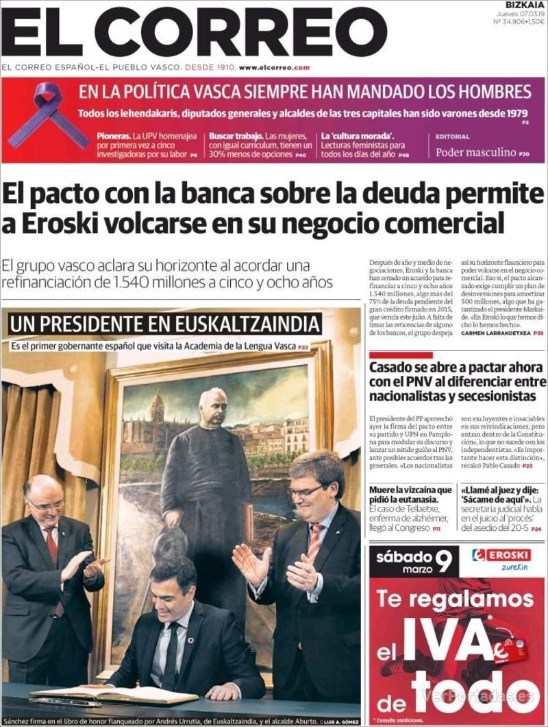 Portada El Correo 2019-03-08
