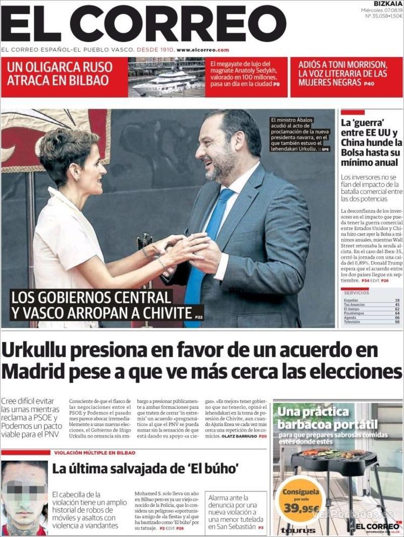 Portada El Correo 2019-08-08