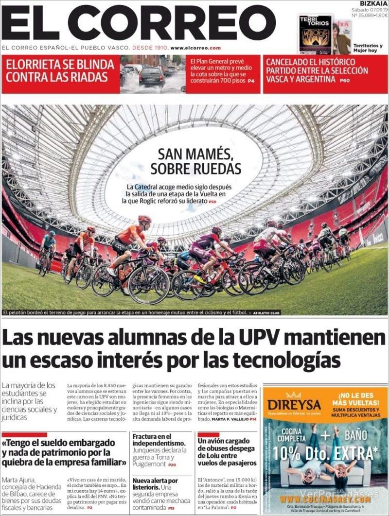 Portada El Correo 2019-09-08