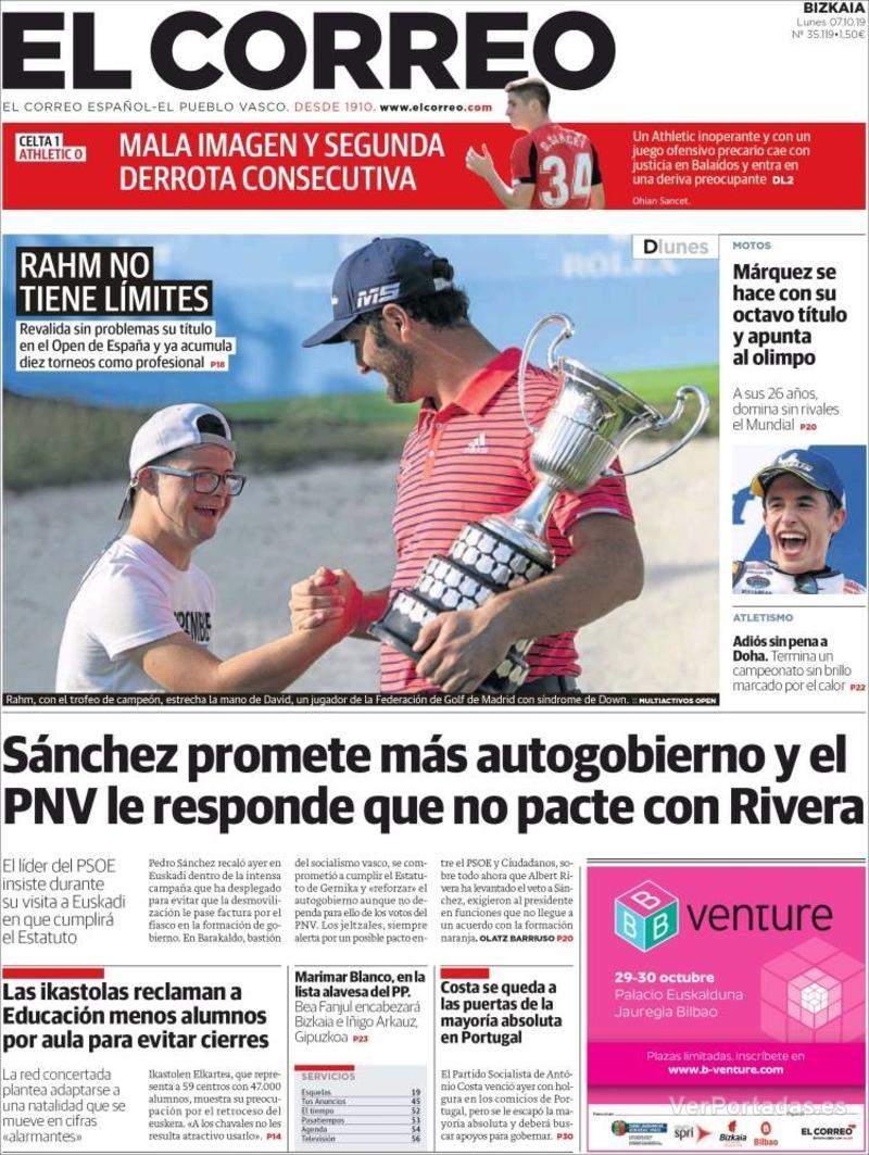 Portada El Correo 2019-10-08