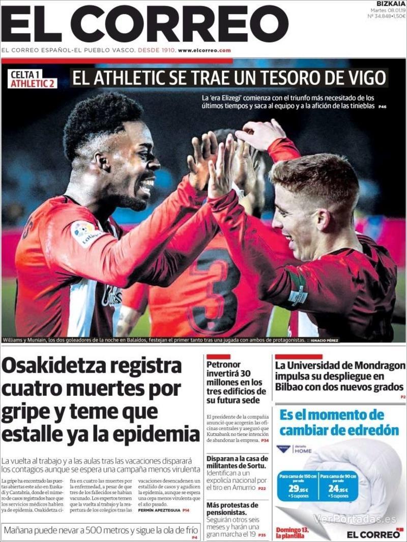 Portada El Correo 2019-01-09